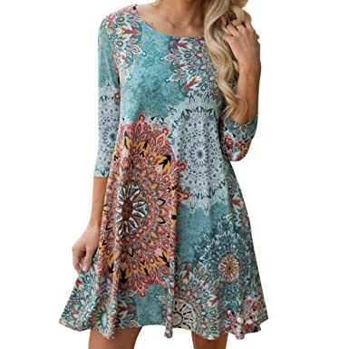 COOCOl Vintage Boho Womens Causal Dress Long Sleeve Printed Evening Party Beach Floral Party Mini Dress