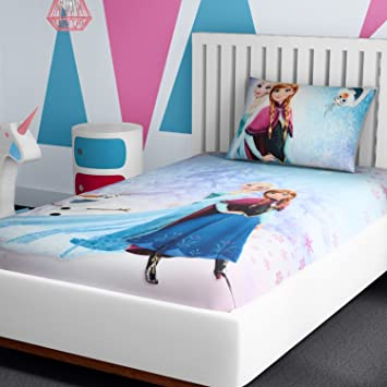 Buy Spaces Disney Frozen 180 TC Cotton Single Bedsheet With 1 Pillow Cover    Character, Violet Online At Low Prices In India   Amazon.in