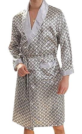 f67091f669 Nanquan-men clothes NQ Men s Summer Silk Kimono Robe Nightgown Long-Sleeve  Pajamas Bathrobes