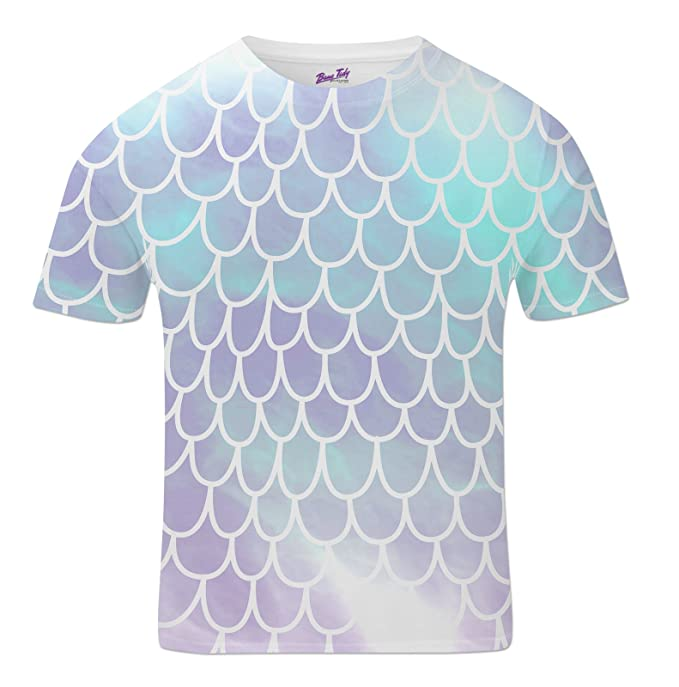 Bang Tidy Clothing All Over Print Sublimation T Shirt Graphic Tees Mens Blue Scales 3D T