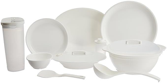 Signoraware Round Dinner Set, 32-Pieces, White Dinnerware Sets at amazon