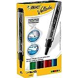 BIC Velleda - Caja de 4 marcadores de pizarra blanca, colores azul, negro, rojo y verde