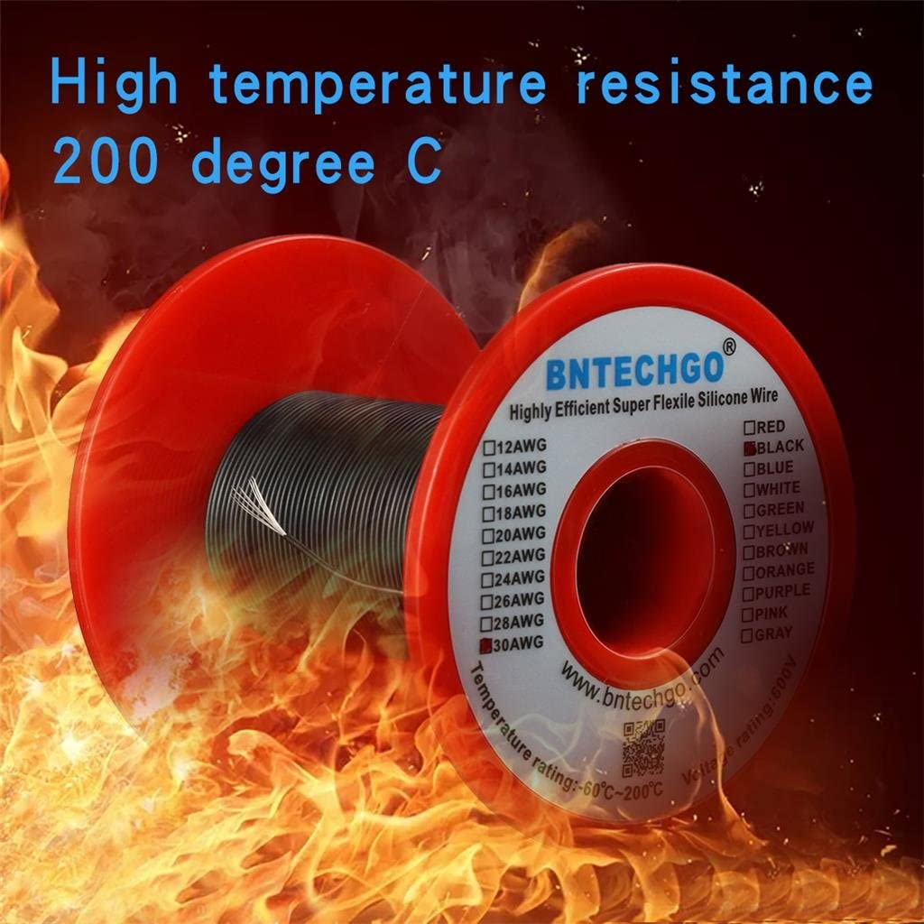 BNTECHGO 30 Gauge Silicone Wire Spool White 100 ft Ultra Flexible High Temp 200 deg C 600V 30 AWG Silicone Rubber Wire 11 Strands of Tinned Copper Wire Stranded Wire for Model Battery Low Impedance