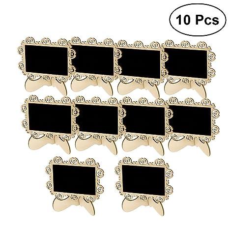 ROSENICE Mini pizarras rectángulo pizarra con soporte para el tablero de anuncios signos de los partidos de boda favor 10pcs
