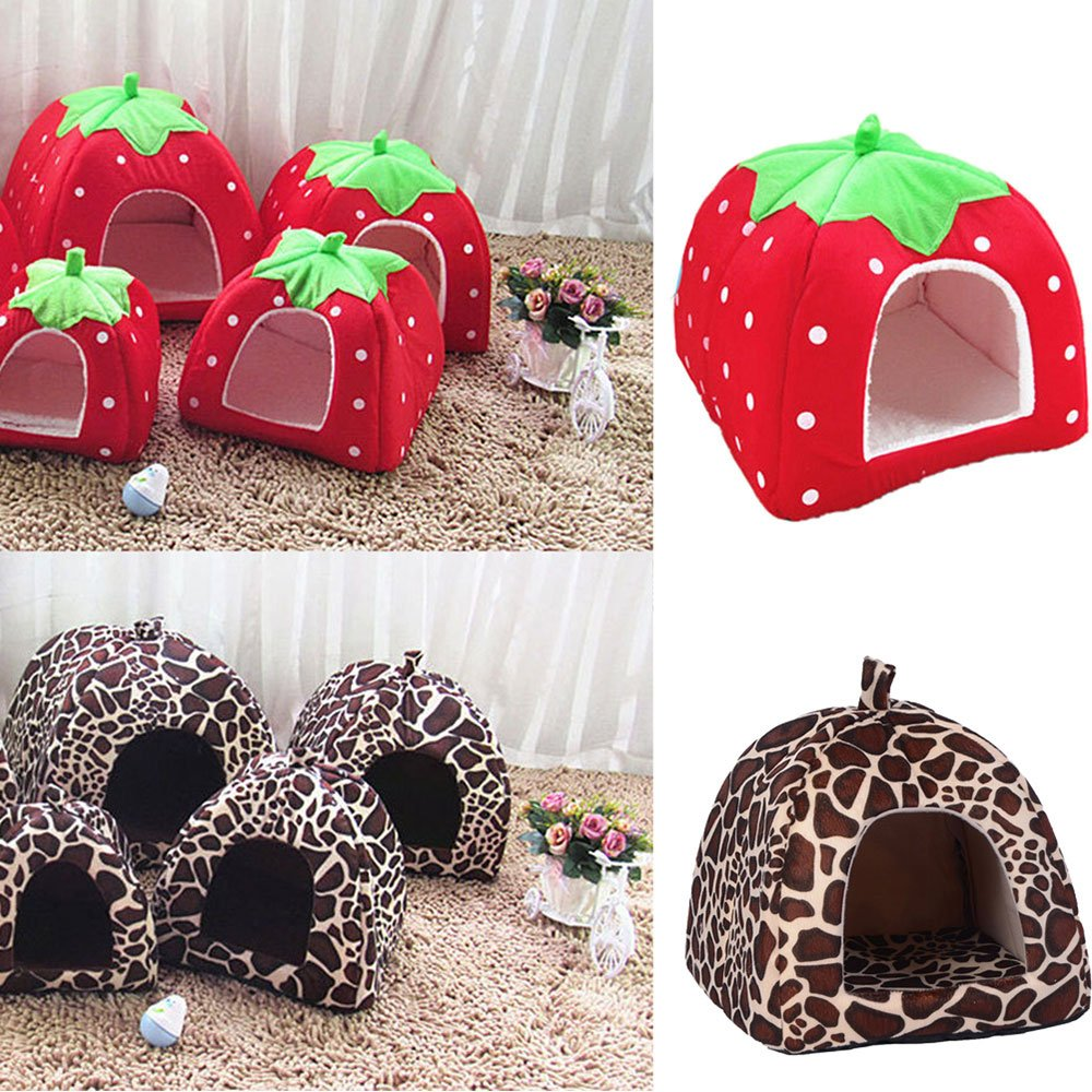 Daycount® Warm Soft Majestic Foldable Dog Cat Tent Bed Animal Cave Puppy Cute Pet Cat House 5 Sizes (Large, Strawberry) by Daycount® (Image #7)