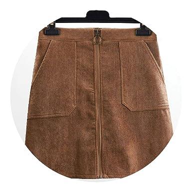 583959ef6 Skirts Casual Velvet Skirts Pocket Middle Waist Pencil Mini Corduroy Skirt  2018 Autumn Winter Trendy at Amazon Women's Clothing store: