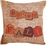 Personalized Happy Fall Vintage Letters Printed New Happy Thanksgiving Decorative Cotton Linen Throw Pillow Case Cushion Cover Square 18 X 18 Inches