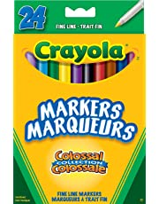 Crayola 24 Fine Line Colossal Markers, Adult Colouring, School and Craft Supplies, Drawing Gift for Boys and Girls, Kids, Teens Ages 5, 6,7, 8 and Up, Holiday Toys, Stocking , Arts and Crafts,  Gifting