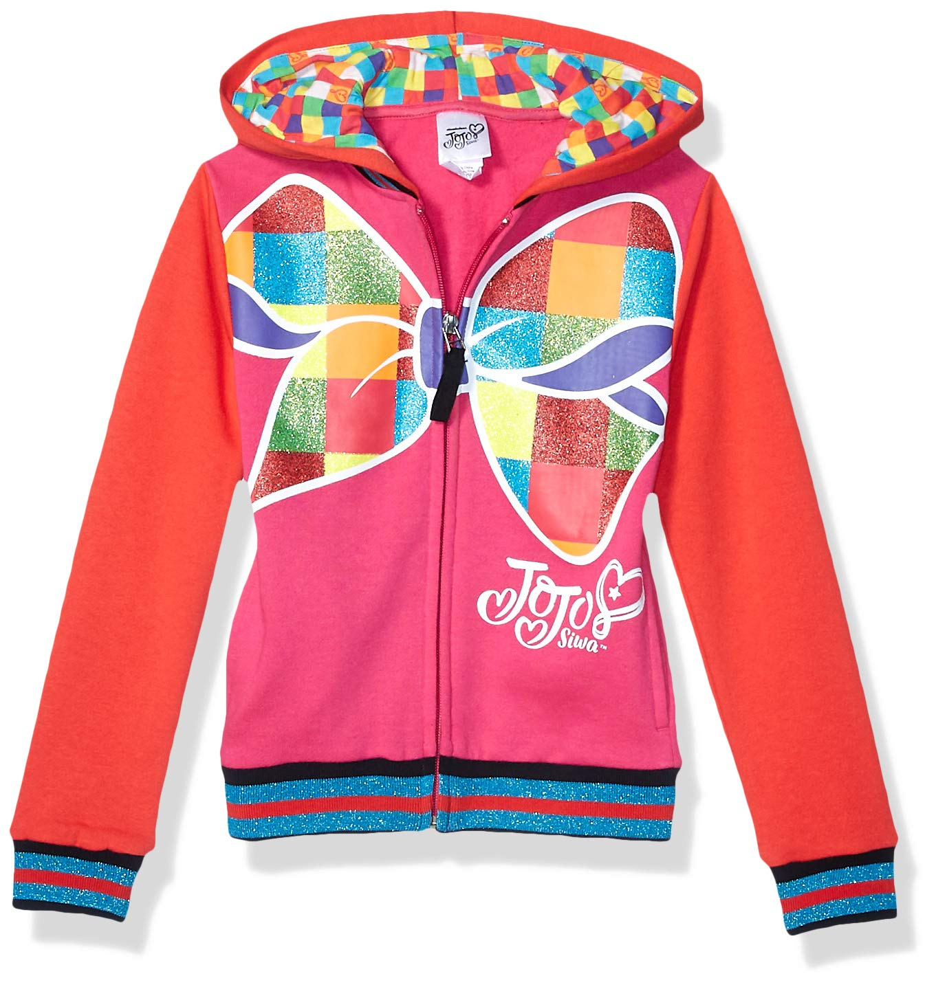 JoJo Siwa Girls' Little Big Bow Zip Up Athletic Hoodie, Red/Hot Pink, S-7