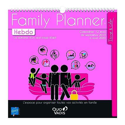 Calendrier Du Mois D Aout 2020.Quo Vadis 238225q 1 Calendrier Family Planner Hebdo Sept 2019 A Aout 2020 30x30cm