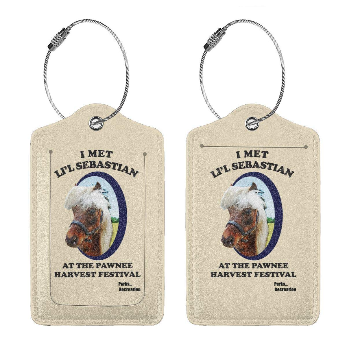 Parks Recreation Lil Sebastian Leather Luggage Tag Travel ID Label For Baggage Suitcase