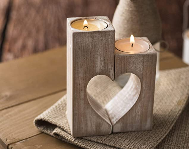 Wood candle holders Valentines Day Gift for Her Wedding gift