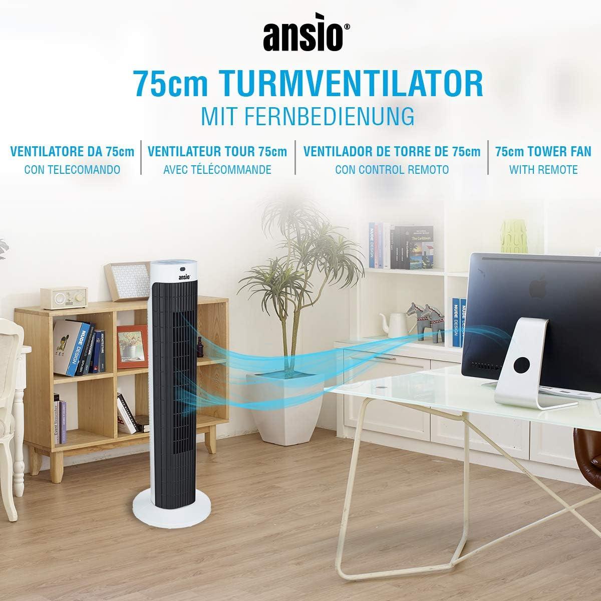 ANSIO Ventilador de Torre oscilante de 30 Pulgadas (76,2 cm ...