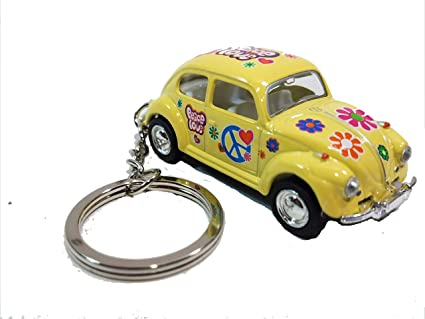 Amazon.com: Kinsmart amarillo Classic Love & Peace VW ...