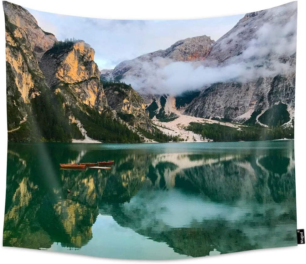 Mugod Nature Landscape Tapestry Beautiful Dolomite Alpine Mountains with Green Lake and Boat Home Decor Tapestry Wall Hanging for Bedroom Living Room Dorm 60W X 51H Inches