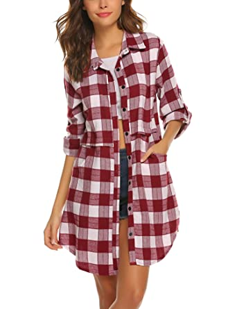 832cac9a642f5 Hotouch Womens Flannel Plaid Shirts Roll Up Long Sleeve Pockets Mid-Long  Casual Boyfriend Shirts