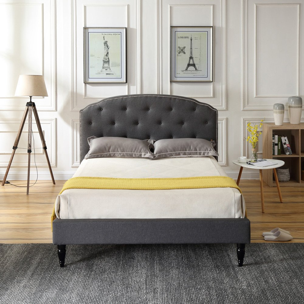 Cranleigh Upholstered Platform Bed | Headboard and Metal Frame with Wood Slat Support | Grey, Full by Classic Brands