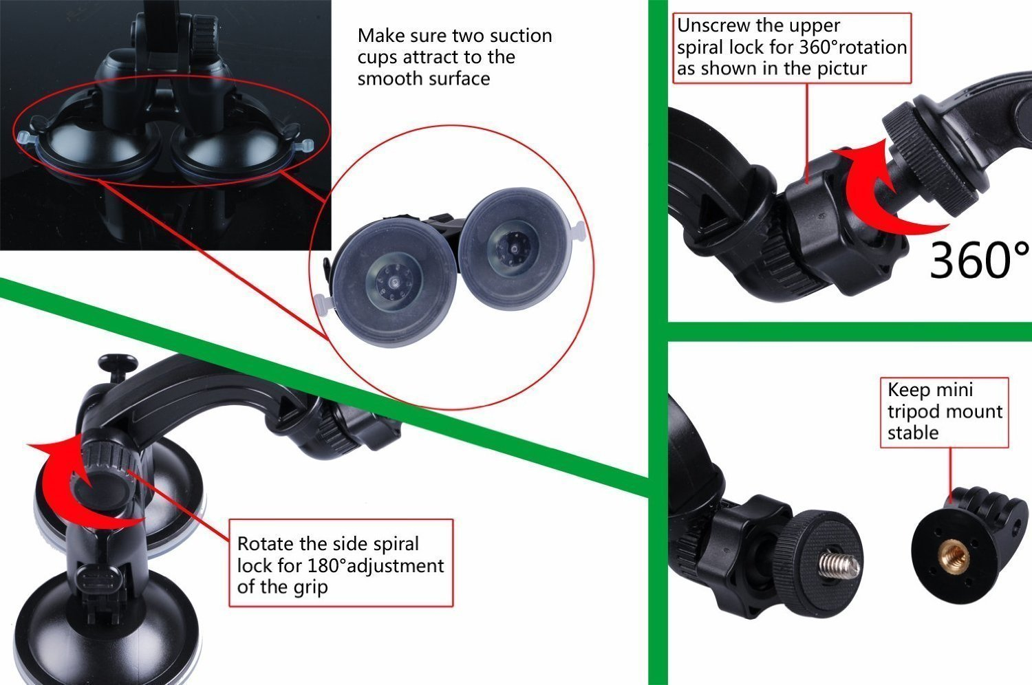 Smatree Double Suction Cup Mount With Greater Telkomsel 17 Gopro Hero Session Power For 7 6 5 4 3 2 1 Compact Cameras Camera Photo