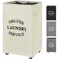ZERO JET LAG 90L Large Laundry Hamper on Wheels Rolling Laundry Basket Tall Dirty Clothes Hamper Organizer Handles…