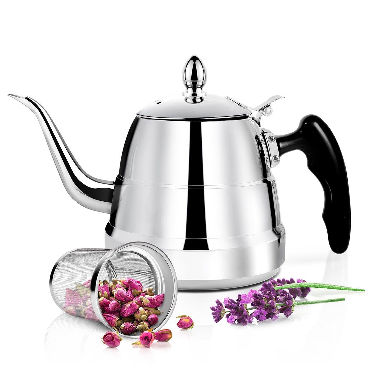 1200ml Café Thé Pot–Poli en acier inoxydable 304Théière avec Infuseur filtre à thé par Raypard bouilloire à thé, Infuseur à thé Pot avec couvercle, pour la maison