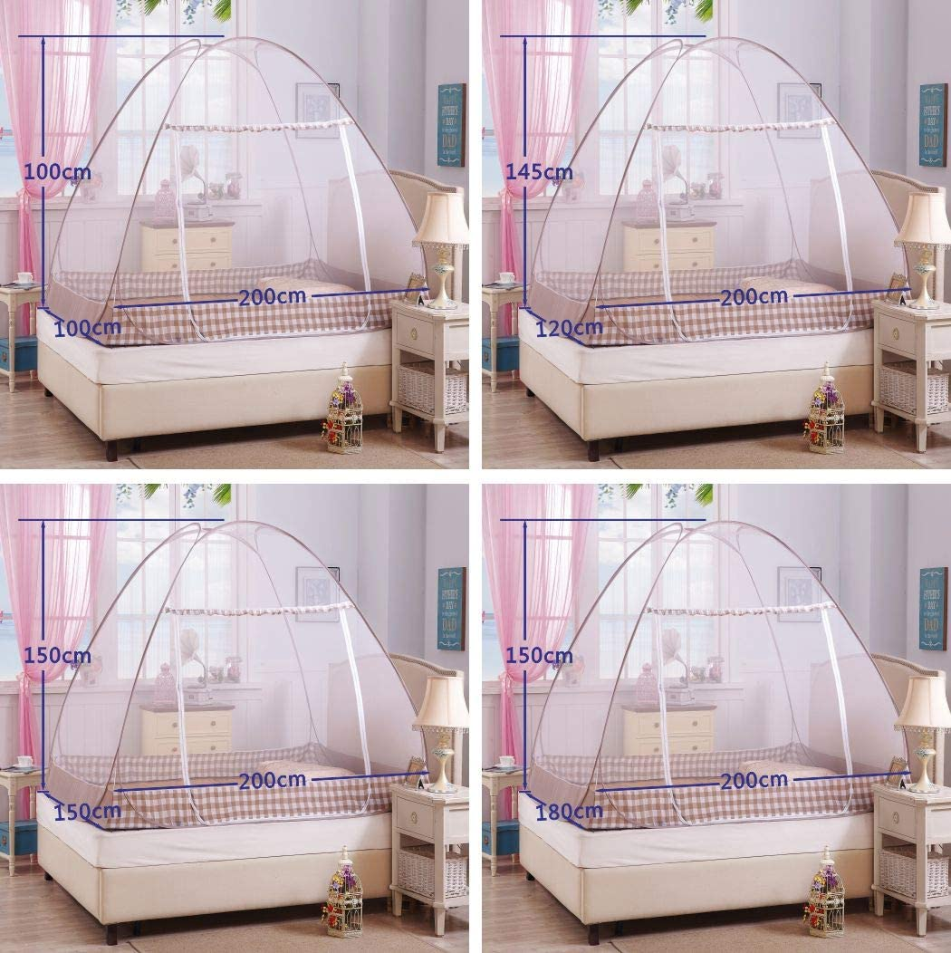 Digead Mosquito Net 100 * 200cm Easy Dome Mosquito Nets Blue Rim Portable Travel Mosquito Net Foldable Single Door Mosquito Camping Curtain