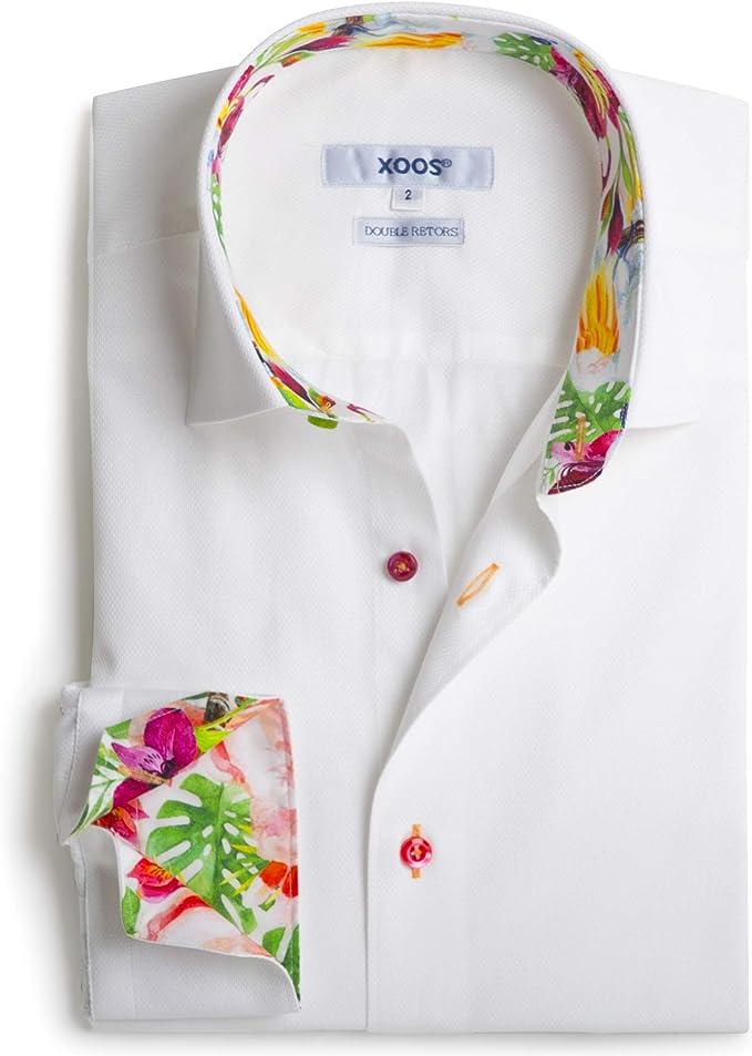 Xoos Paris - Camisa de Manga Larga para Hombre, Cuello Italiano, diseño de Flores, Color Blanco - Blanco - 3X-Large: Amazon.es: Ropa y accesorios
