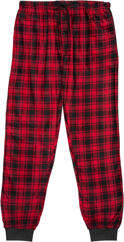North 15 Men's Super Soft, Plaid Minky Fleece Lounge Pants