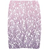 D-Story Custom Blue Black Feather Pattern Womens Fitted Skirt