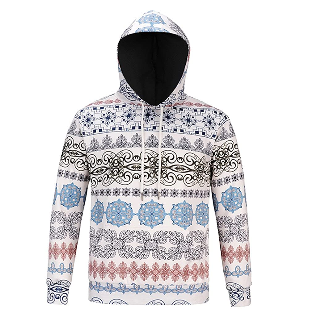 BB67 Mens Hoodies Christmas Printed Long Sleeve Hooded Tops Blouse Tracksuits