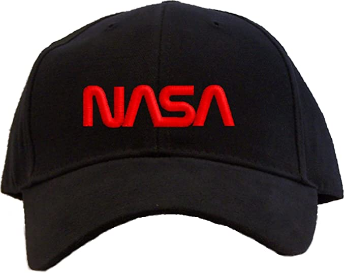 d87ae72802d Image Unavailable. Image not available for. Color  Nasa - Red Worm Logo  Embroidered Baseball Cap - Black