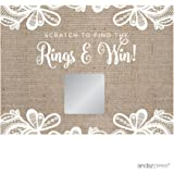 Andaz Press Burlap Lace Wedding Collection, Bridal Shower Game Scratch Cards, 30-Pack