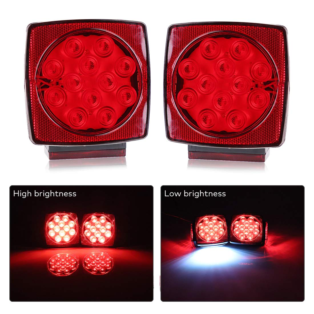 BougeRV 12V LED Trailer Light Waterproof Trailer Tail Lights Running Stop Turn Signal Brake Marker Reversing Backup Light for Under 80 Inch Boat Trailer Camper Truck RV Marine by BougeRV