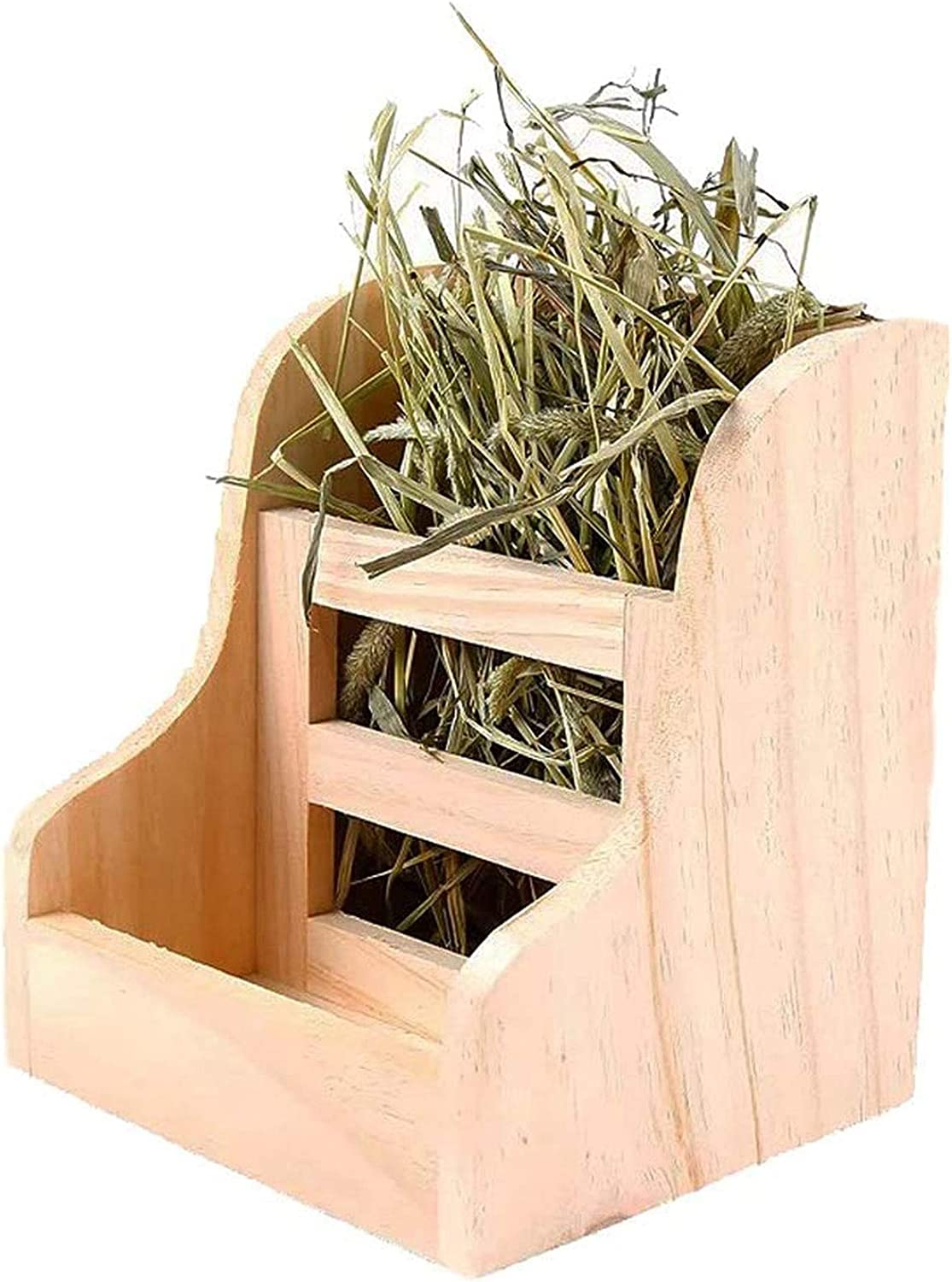 Rabbit Hay Feeder Wood Food Manger Hay Dispenser Wooden Rack Holder for Bunny Guinea Pig Chinchilla