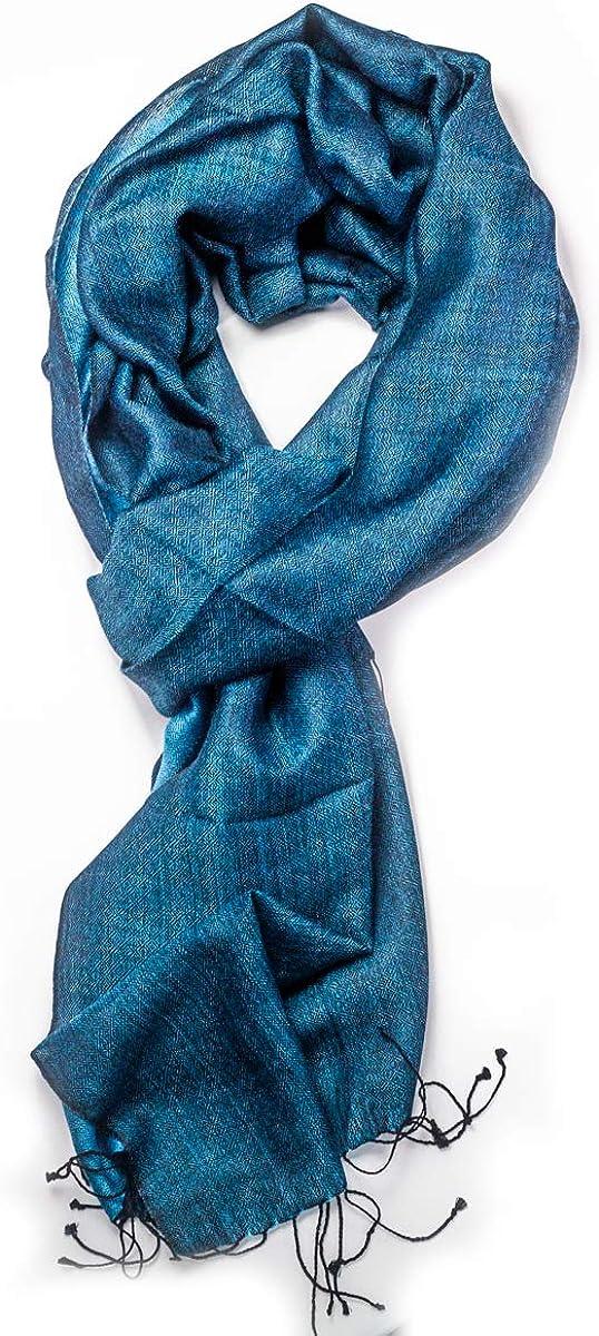 mi soie mi cachemire 60 cm 180 G/én/érique Echarpe Pashmina Bleue