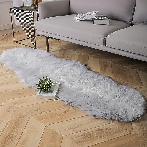 Ashler Faux Fur Area Rug Indoor Ultra Soft Fluffy Bedroom Floor Sofa Living Room Grey 2 x 6 Feet