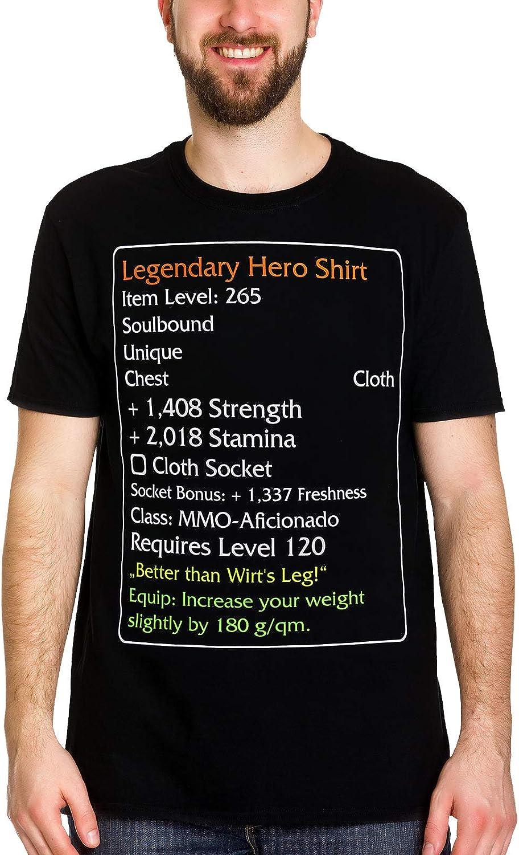 Elbenwald Legendary Hero T-Shirt da Uomo Level-120-Item per World of Warcraft Fans Cotton Black