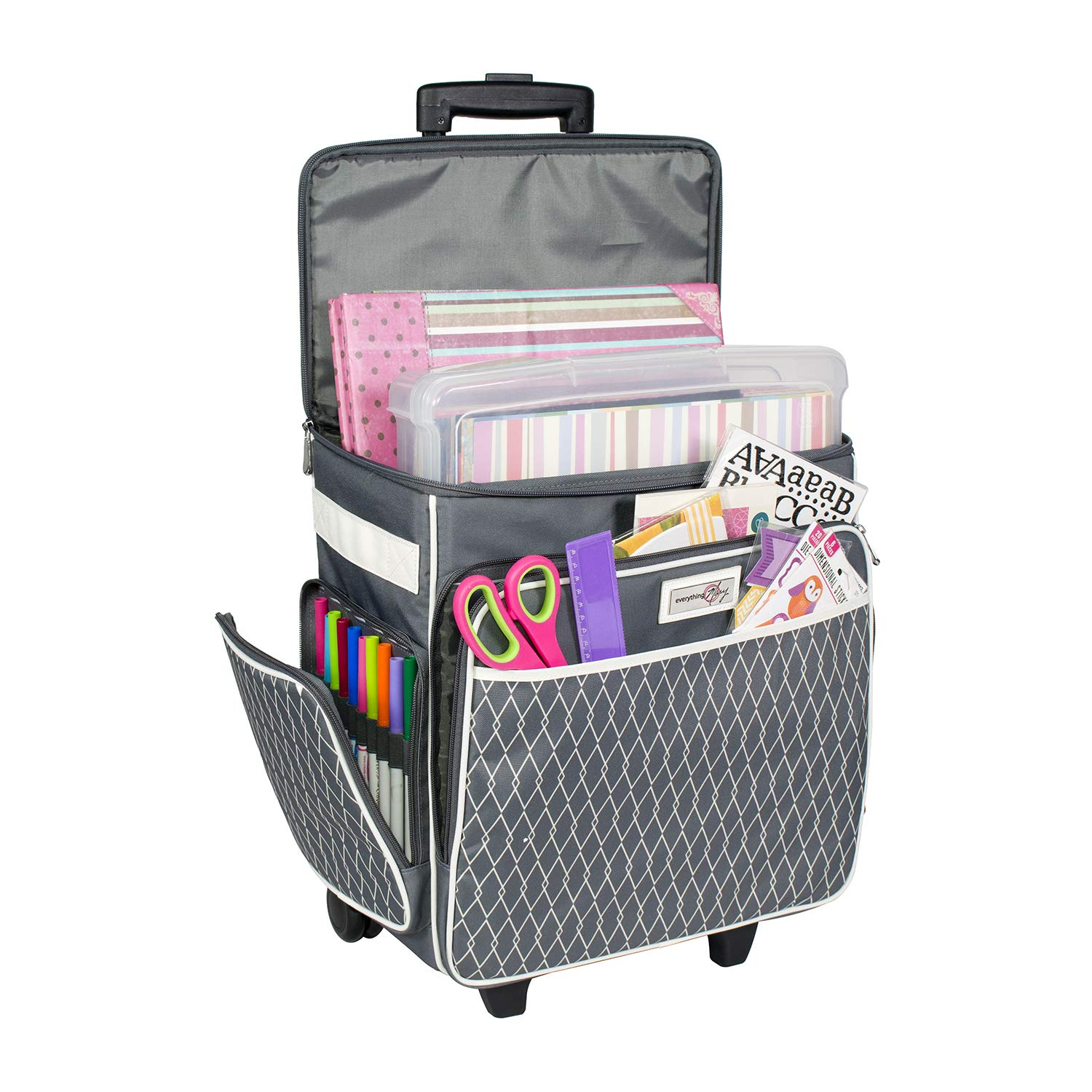 Everything Mary Grey & White Rolling Scrapbook Storage Tote - Scrapbooking Storage Case for Rings, Paper, Binder, Crafts, Beads, Paper, Scissors - Telescoping Handle with Dual Wheels - Craft Case by Everything Mary
