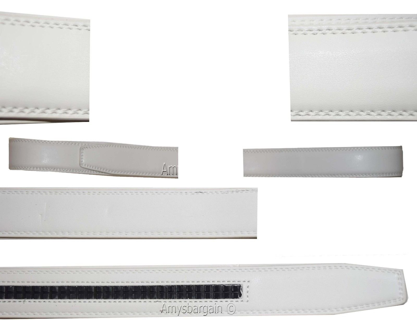 Women/Men's Leather belt strap only Replacement strap for Auto-lock buckle 1.10'' (White, 37-38)