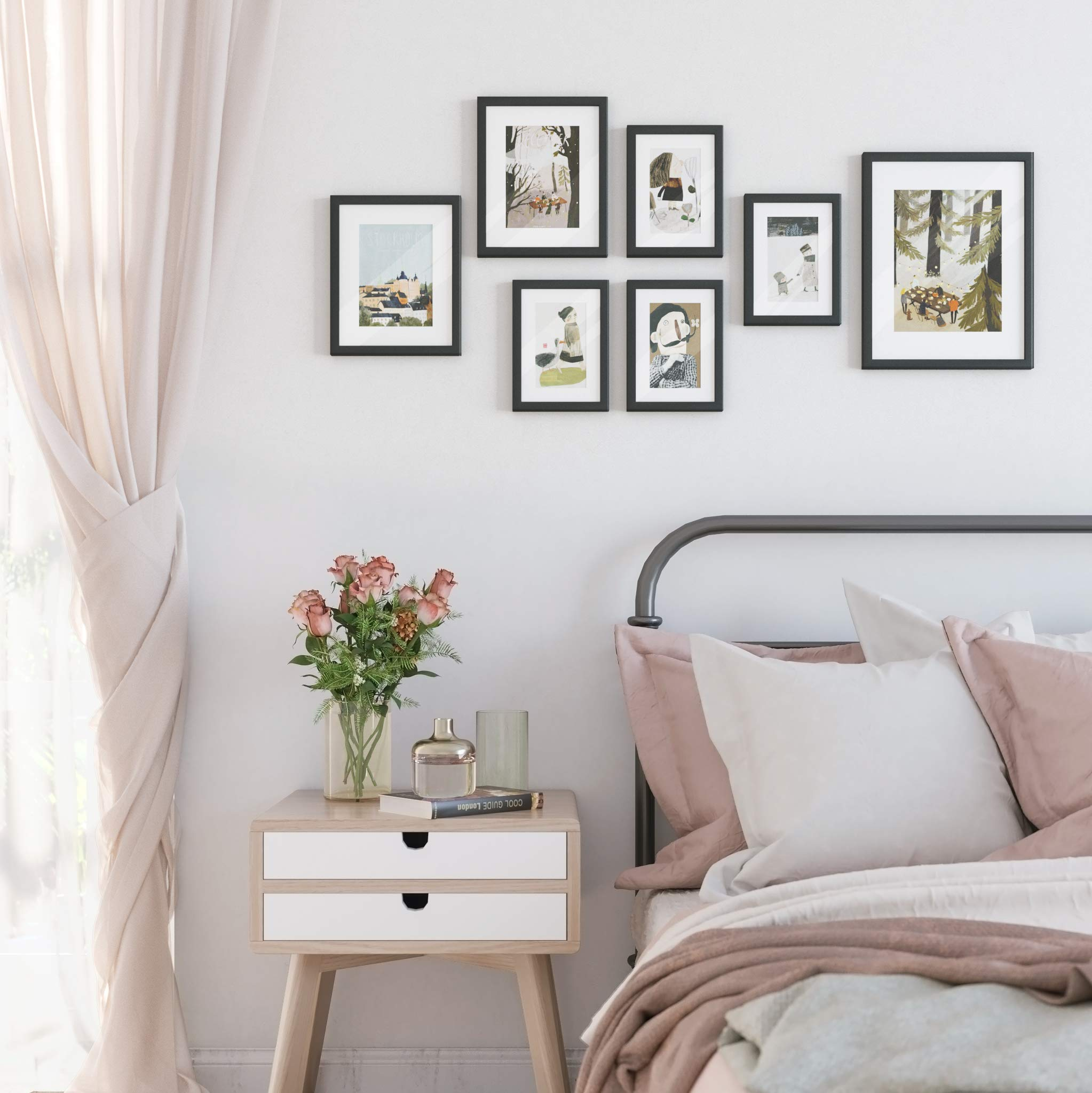 SONGMICS Picture Frames Set of 7 Pieces, One 11 x 14 Inches, Two 8 x 10 Inches, Four 6 x 8 Inches, with White Mat Real Glass, for Multiple Photos, Black Wood Grain URPF37BK by SONGMICS (Image #8)