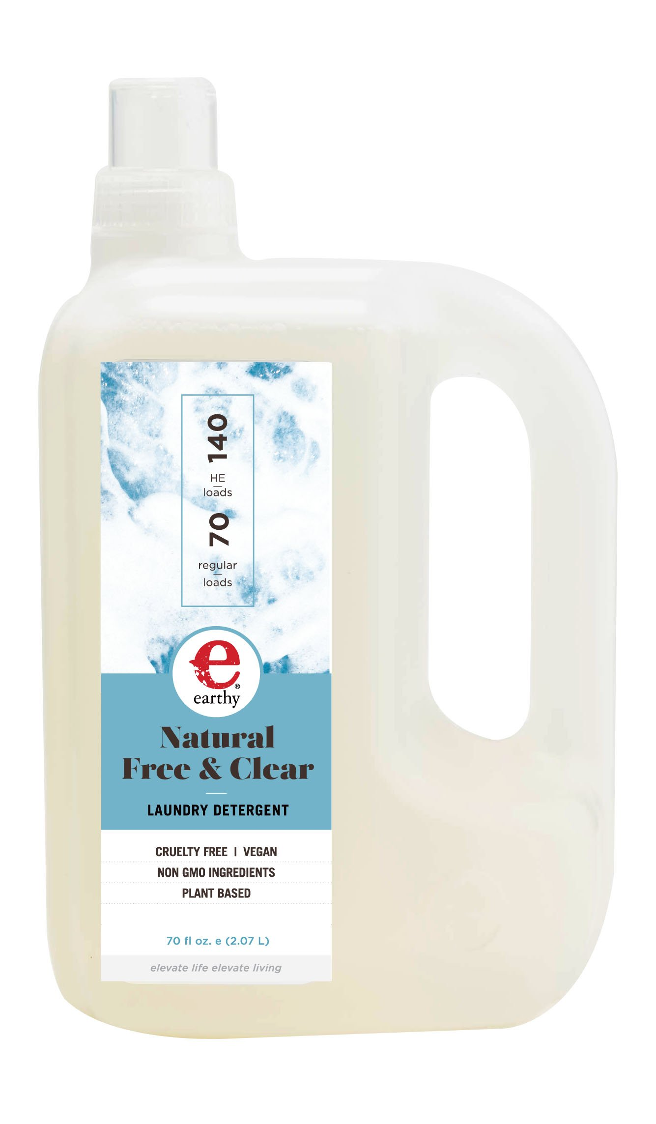 Earthy Natural Laundry Detergent, Free & Clear, 70 Ounce