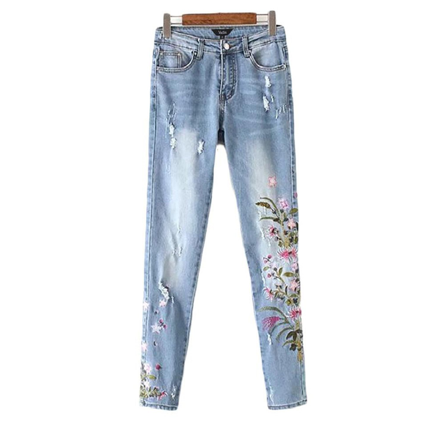 earring n Women Vintage Floral Embroidery Holes Denim Jeans Pockets Ankle-Length Pants Ladies Casual Brand Trousers KZ987 as Picture XL