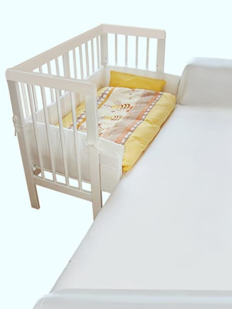 Cuna colecho cuna adosada madera de pino macizo color BLANCO 88cm x 50cm: Amazon.es: Bebé