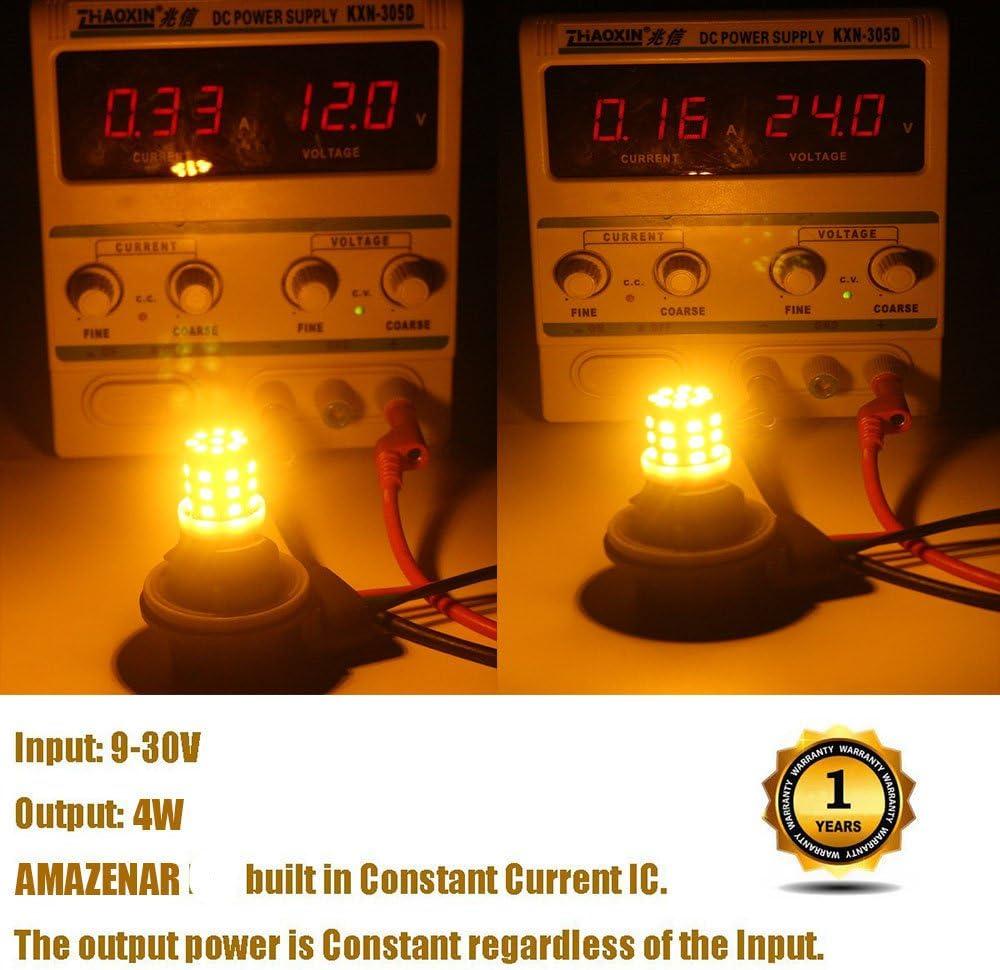 AMAZENAR 2-Pack 3056 3156 3057 3157 4157 Extr/êmement Lumineux Ambre//Jaune Non-Polarity Lumi/ère LED 9-30V DC 2835 33 SMD Voiture de Remplacement pour Feux de Clignotant