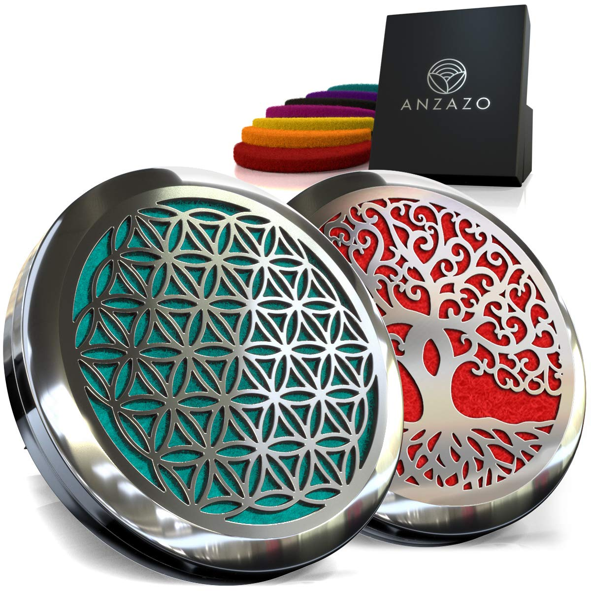 Car Essential Oil Diffuser - 1.5' Magnetic Locket Set with Air Vent Clip - Best for Aromatherapy - Fragrance Air Freshener, Scents Diffusers - Jewelry for Car, Flower of Life + Interconnected (2 Pack) Anzazo