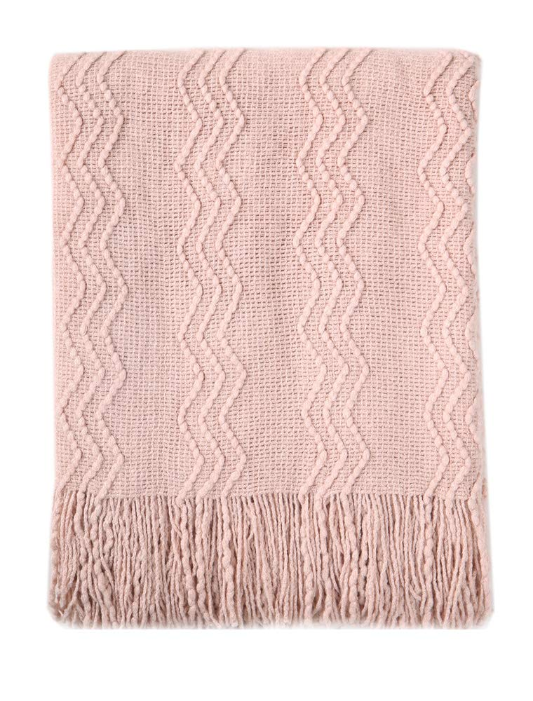 """BOURINA Textured Solid Soft Sofa Throw Couch Cover Knitted Decorative Blanket, 50"""" x 60"""", Pink"""