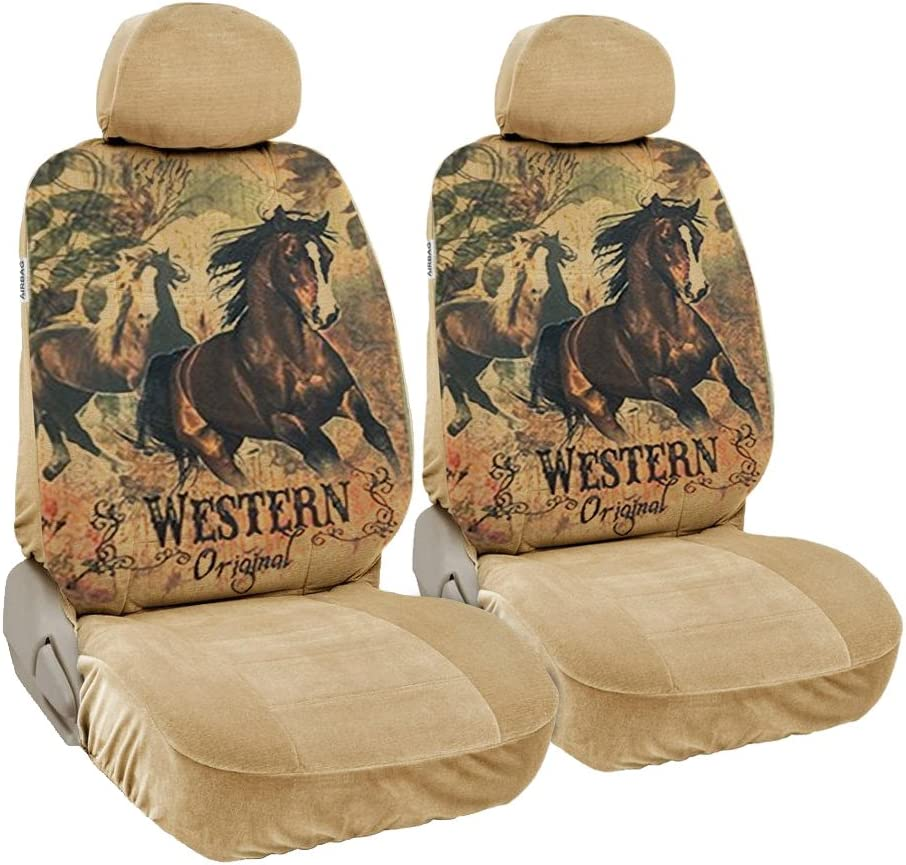 CarsCover Print Design Brown Horse Original Western Script with Flowers on Background Wild West Car Truck SUV Universal-fit Low Back Seat Covers Driver /& Passenger Set