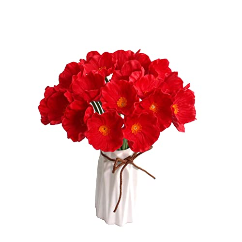 Artificial poppies amazon mandys red poppy artificial flower 10pcs pu for wedding home kitchen 125 vase mightylinksfo