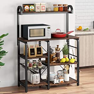 Tribesigns 35.5 inches Kitchen Baker's Rack Microwave Oven Stand, Industrial Kitchen Cart Utility Storage Shelf Organizer Coffee Bar with Wire Basket and 6 Hooks (Rustic Brown)