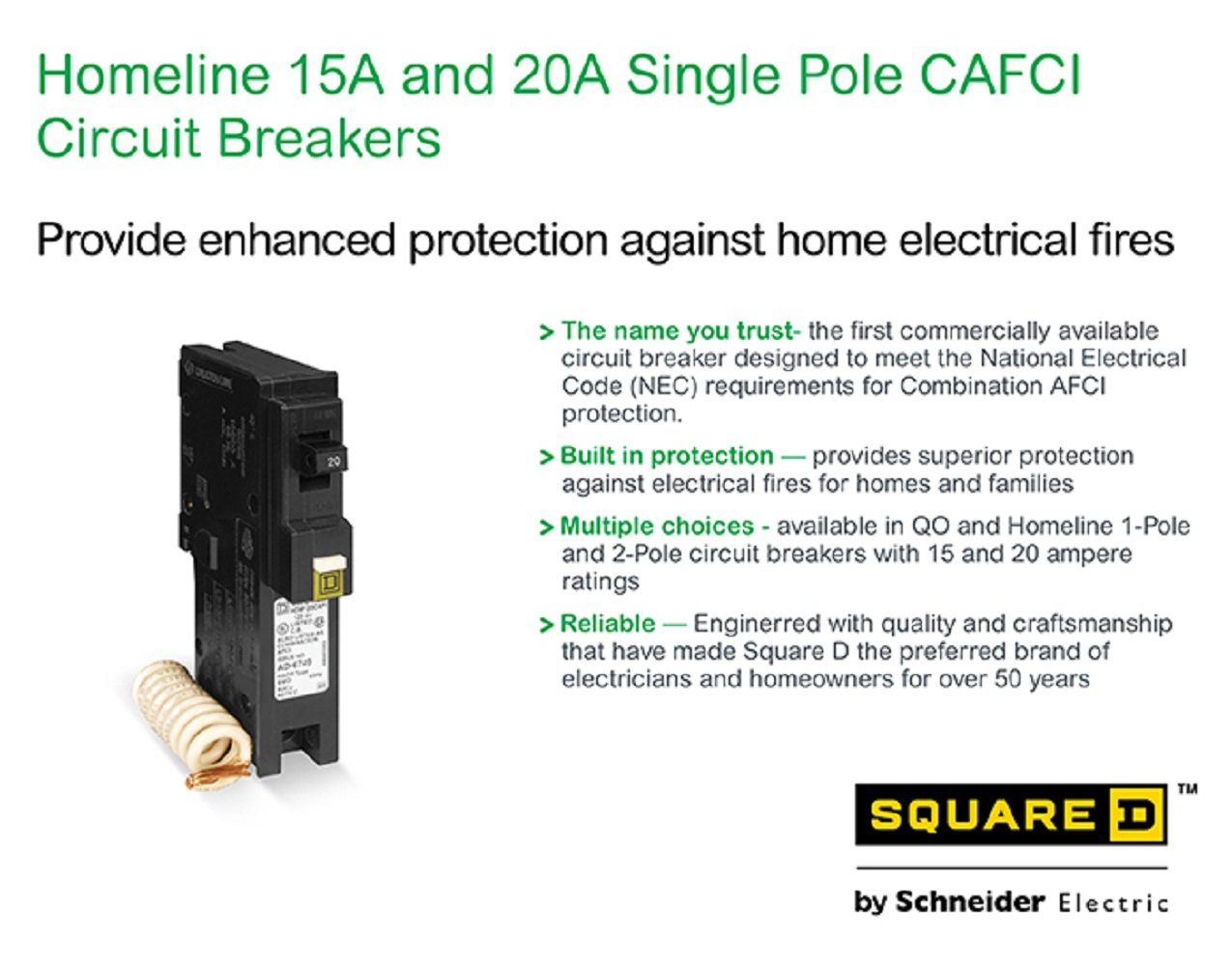 Square D By Schneider Electric Hom115cafic Homeline 15 Amp Single Qo 15amp 1pole Combination Arc Fault Circuit Breaker At Lowescom Pole Cafci