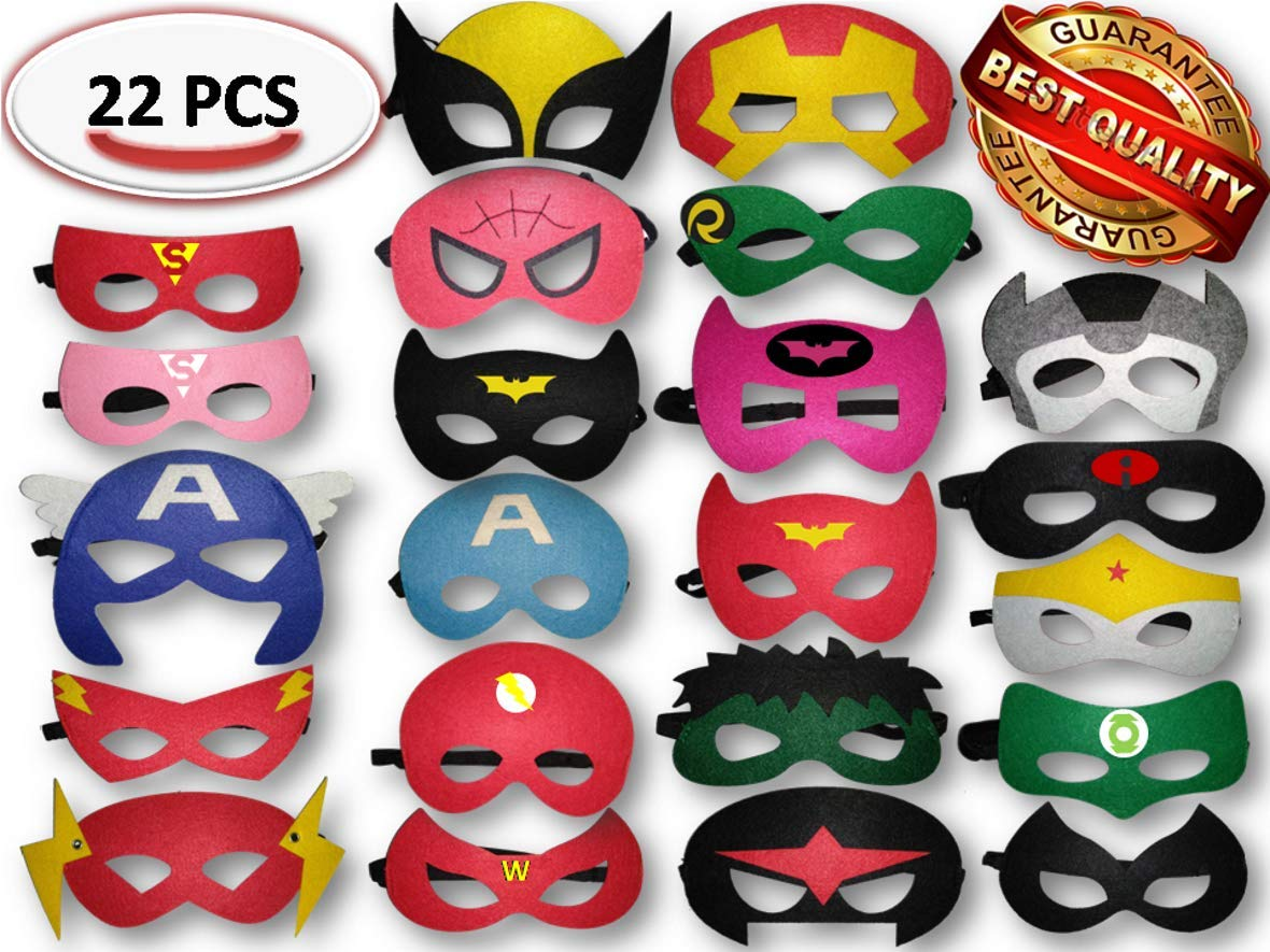 Gazelle'sGoods Superhero Masks and Superhero Party Favors ADJUSTABLE Multiple Sizes for Boys and Girls for Birthdays Dress Up Party (22 Pieces) by GG Party Supplies